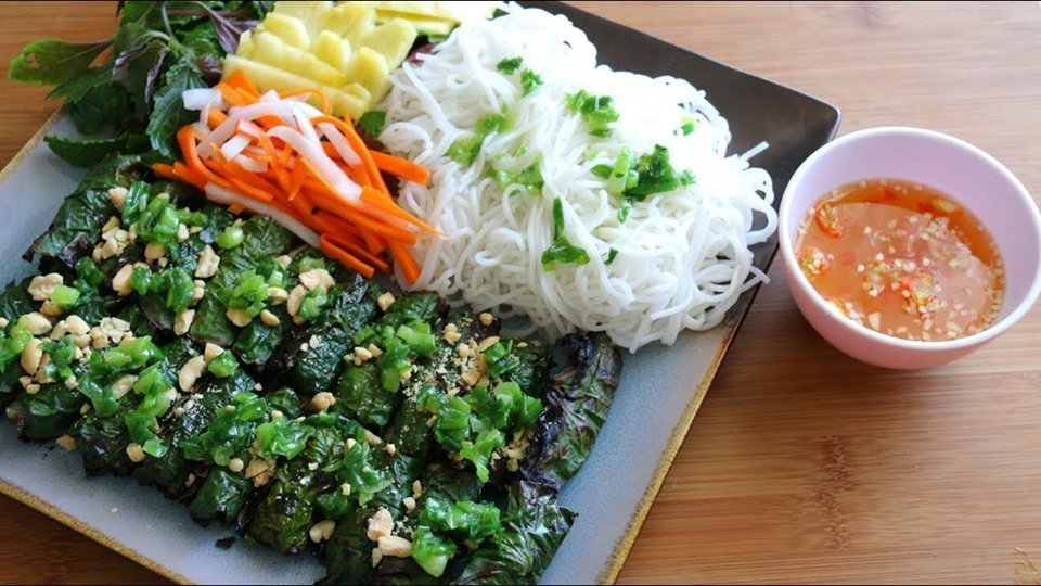 Char-Grilled Minced Beef Rolls In Betel Leaf:
