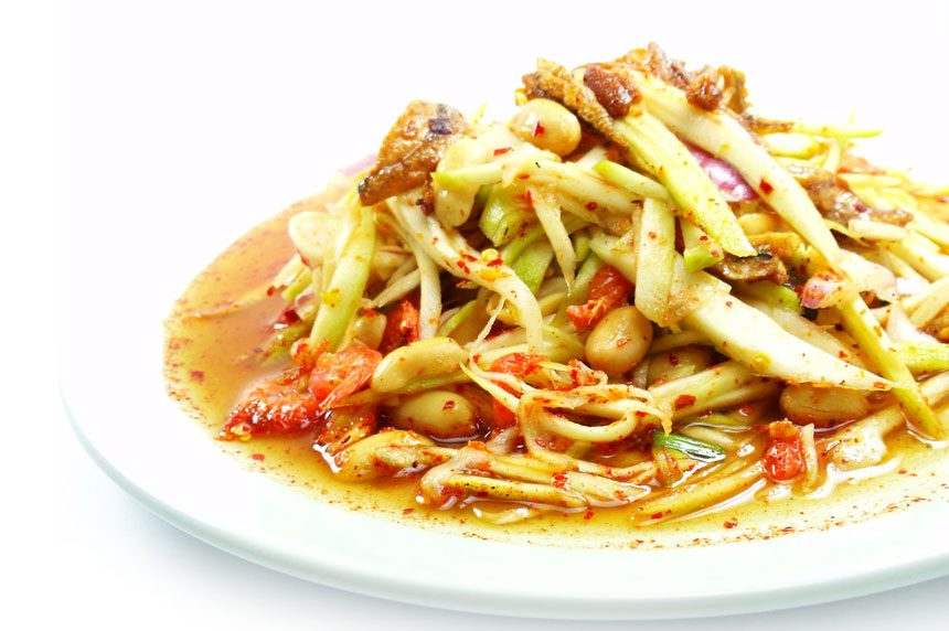 green mango salad with soft shell crab is very testy and famous dish hong kong